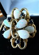 Vintage Estate Opal And Sapphire 14k Yellow Gold Cluster Ring Sz 6.5