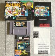 Super Mario All Stars Super Nintendo W/ Box + Manuals Poster Cleaned And Tested Vg