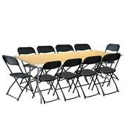 96in Rectangular Folding Wood Table 10 Black Poly Chair Set For Restaurant Party