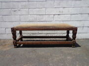 Antique Rustic Bench Leather Primitive Style Stool Ottoman Footstool Footrest