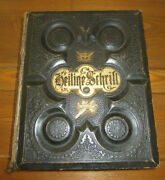 Antique 1800's Heilige Schrift German Pictorial Family Bible W/ Leather Cover