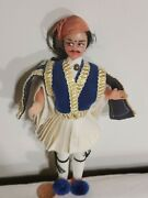 Vintage Greek Tsolias In Authentic Costume Souvenir Doll 4.5 Tall By Eveltin