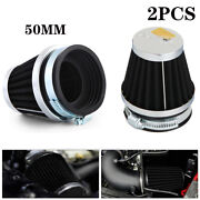 2x 50mm Universal Tapered Chrome Pod Air Filters Clean For Motorcycle Cafe Racer