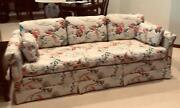 Vintage Ethan Allen Floral With Birds Quilted Fabric Tuxedo Sofa