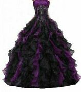 Black And Purple Ball Gowns Wedding Quinceanera Dress Ruffle Party Prom Dresses