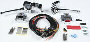 Chrome Complete Handle Bar Control Kit W/ Black Switches Harley Fatbob 1979-1981