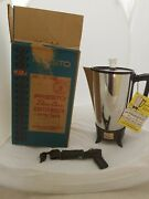 Vintage Presto Coffee Percolator 12-9 Cup Stainless Steel Electric Coffee Pot