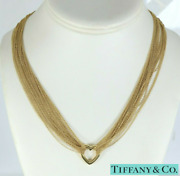 Rare And Co 18k Yellow Gold Open Heart Multi Chain Mesh Toggle Necklace