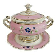 Flight Barr And Barr Large Soup Tureen, Cover And Stand, Pink, Regency Ca 1820