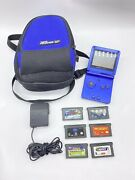 Gameboy Advance Sp Colbalt Blue With Original Case/charger And 6 Games