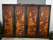 49 Old China Lacquerware Wood Dynasty Scenery Pavilion Wall Hanging Screen Set