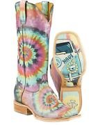 Tin Haul Women's Groovy With Tie Dye Camper Sole Cowgirl Boot - Square Toe Blue