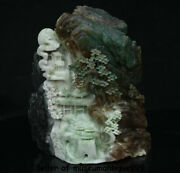 8.8 Chinese Natural Dushan Jade Carved Man People Ride Cattle Tree House Statue