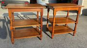 Pair Antique Signed L And Jg Stickley Cherry Valley Colonial End Tables Shelf 288