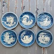 The Voyage Of Ulysses Plates Set Of 6 Blue Incolay Cameo Stone Collectible Plate