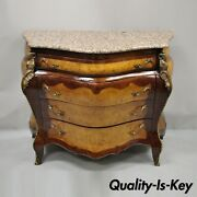 Reproduction French Louis Xv Style Pink Marble Top Bombe Commode Dresser Chest