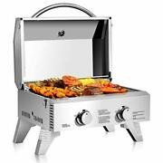 Propane Tabletop Gas Grill Stainless Steel Two-burner 20000 Btu, Camping Picnics
