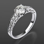 4 Prongs Solitaire Accented Diamond Ring Lady 1.17 Ct Vs D 18k White Gold Round