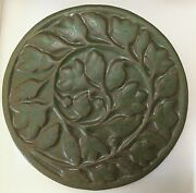 Pewabic Pottery Vine, Berry Floral Round Tile 7 Arts And Craft Matte Green Mint