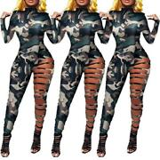 New Sexy Women Bodycon Fashion Camouflage Mock Neck Hollowed Out Jumpsuits Club