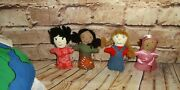 Pier 1 Global Child 4 Doll Set Cotton With Globe Fabric Carry Zipper Case
