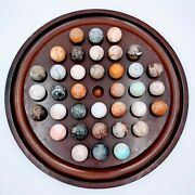 Vtg Bombay Wood Solitaire Game 1994 36 Large Stone Marbles Board Agate Sphere.