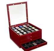 Rosewood Zippo Lighters Chest Includes 40 Lighters Cabinet Display Cases Red