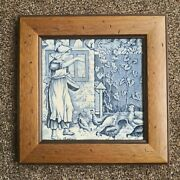 Vintage Josiah Wedgwood Old English Grey Tile Month August - Blue And White