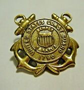 Vintage Wwii Us Coast Guard Uscg Spars 1790 Double Anchor Gold Badge Insignia