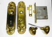 Reading Hardware Co. Privacy Mortise Lock With Brass Trim, Knobs, Lock Restored