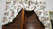 Vintage Waverly 3 Pc. Window Treatment-pleasant Valley-2 Swags And Jabot Lined