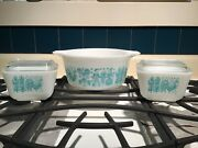 Pyrex Amish Butterprint Casserole And Refrigerator Dishes Near Mint Turquoise Lids
