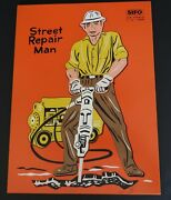 Vintage Street Repair Man Sifo Toys Wooden Board 10 Piece Puzzle