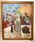 Vintage Orig. Jules Canes Botanical Flower Abstract Expressionism Oil Painting