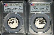 2021-s Pcgs Pr70 Tuskegee And Wash Crossing .999 Silver Proof 2 Coins Fdi