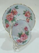 Paragon Large Pink Rose On Pale Blue Colorway Virtually Mint Condition C1957-60