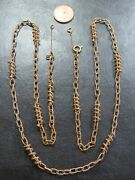 Vintage 9ct Gold Fancy Baton And Cable Link Necklace Chain 32 Inch C.1970