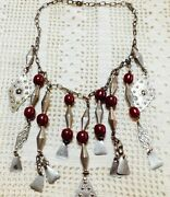Moroccan Ornate Necklace With Dark Amber Color Beads