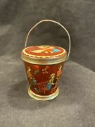 Unusual German Tin Lithographed Candy Container Pail