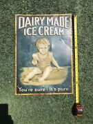 Xx-rare Early 1900s Andldquodairy Madeandrdquo Embossed Ice Cream Tin Litho Sign/kid With Cone