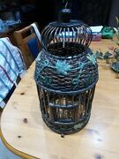 Antique Chinese Oriental Wooden Bamboo Birdcage With Ivy Detail.