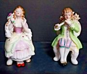 Vintage Victorian Man And Woman In High Back Chairs - Fine Porcelain Figurines