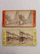 Rare New York City Two Stereoviews Slums Five Points Oyster Barges L@@@k