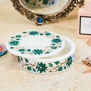 White Marble Handmade Collectable Round Trinket Jewelry Box Marquetry Floral Art