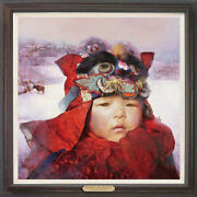Hand Painted Original Oil Painting Art Chinese Small Boy On Canvas 30x30