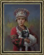 Hand Painted Original Oil Painting Art Chinese Small Girl On Canvas 24x36