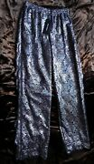 Rare New Dolce And Gabbana Pants Silver Iridescent Brocade Lace Trousers