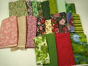 Lot Red Green Cotton Quilt Fabric Christmas Material Floral 27+ Yds Vintage New