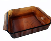 Anchor Hocking Fire King Amber 8andrdquo Square Glass Baking Casserole Dish 435 Vintage