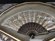 Vintage Hand Painted Floral Flowers Lace Design Framed Hand Fan 22.5andrdquo X 14.5andrdquo